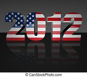 Election 2012 - Year 2012 with flag wrapped over it to...