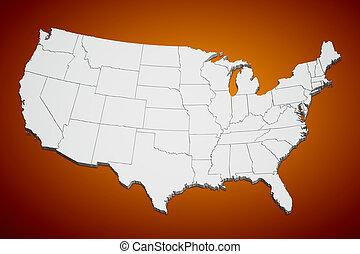 United States map on orange