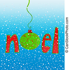 Noel in Snowflakes - Cute typography of the word Noel with...
