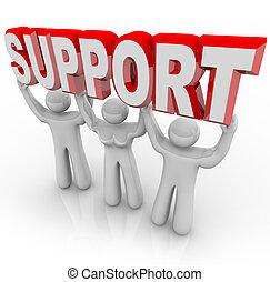 Apoyo, gente, elevación, su, Carga, difícil,...
