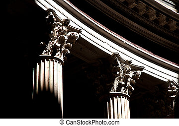 Columns - Detail of columns in Pantheon in Rome, Italy
