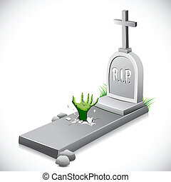Grave Stone - illustration of hand coming out of grave stone