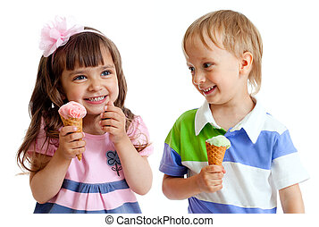 happy children twins girl and boy with ice cream in studio isolated