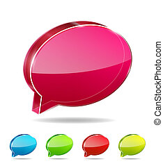 3d vector glass chat boxes - Vector illustration for your...