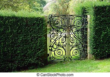negro, forjado, hierro, jardín, puerta