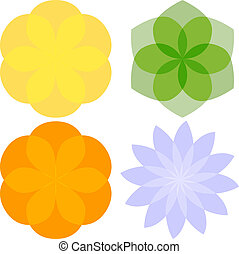 Set of 4 Abstract Flowers