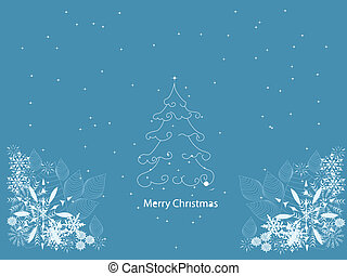 Abstract Christmas tree on the blue background. Vector illustration.