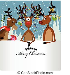 Merry Christmas Card with three happy reindeer and a text box
