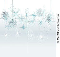 Christmas background with blue snowflakes and place for your tex