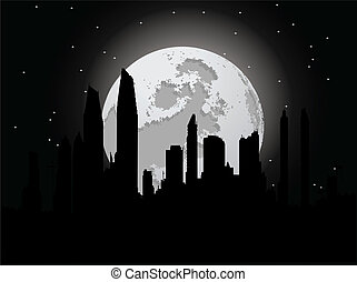 Night city with moon