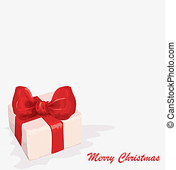 Vector gift box with red ribbon and bow