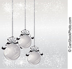 Christmas balls in silver. Vector illustration.