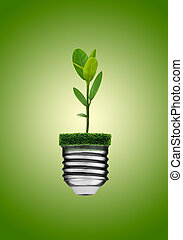 Go Green Concept - Go green concept. Light bulb and plant.