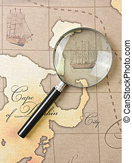magnifier  on  map - magnifier on a stylized map