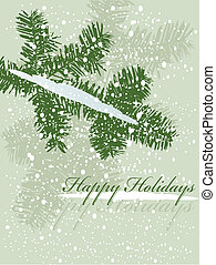 vector illustration of a christmas branch with snow