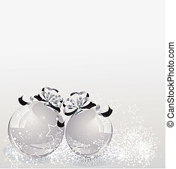 white Christmas backdrop with two balls