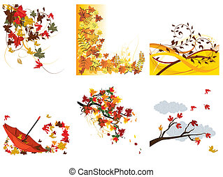 Set of autumn backgrounds