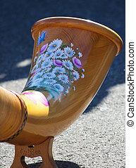Swiss Alp Horn - A decorated Swiss Alps horn