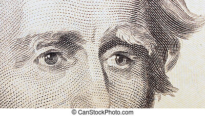 twenty dollar bill, eye Jackson background, textures