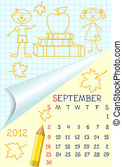 Cute schoolbook style calendar for 2012 - Cute schoolbook...