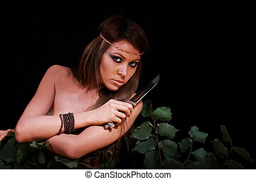 Beautiful girl with a knife