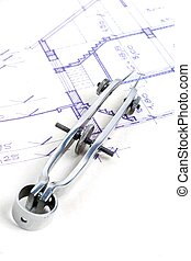 Residential House Plans and a Compass