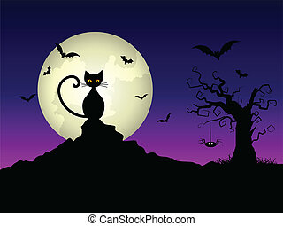 Halloween night background with a cat and spooky tree