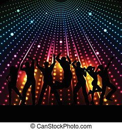 Disco people - Silhouettes of people dancing on a disco...