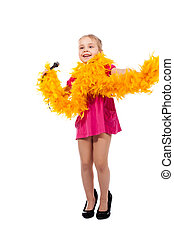 Beautiful girl in a high heel shoes and boa with mike sining...