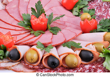 Assorted meats - Cutting of different kinds of meat with...