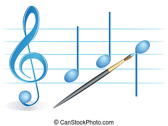 Brush, treble clef and notes