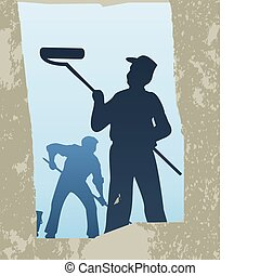Cleaning - The man the cleaner washes a window A vector...