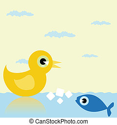 Duck and fish - The duck and fish divide a forage into the...