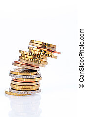 A stack of coins - A toppling stack of coins of euro cents....