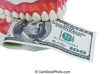 Tooth model with dollar bills - A dental model to the...