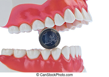 Tooth model with euro notes - A dental model to the dentist...