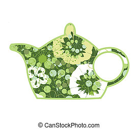 Teapot2 - Green teapot from plants and a flower. A vector...