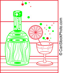 alcohol green bottle, red glass - vector alcohol green...