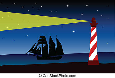 Lighthouse at night - vector