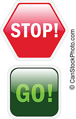 Glossy stop and go buttons