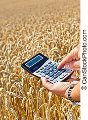 Farmers with a calculator on cereal box - A farmer with a...