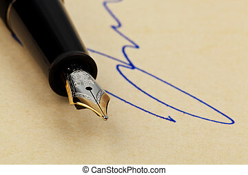 Fountain pen signature with - The spring of a fountain pen...