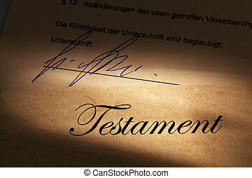 Testament in German - The testament of a deceased person in...
