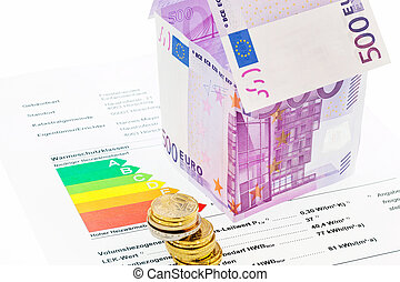 House from € banknotes and Energy Performance Certificate -...