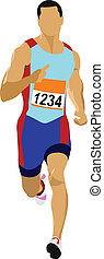 Long-distance runner Short-distance runner Vector...