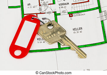 Apartment key and blueprint - The key to an apartment and a...