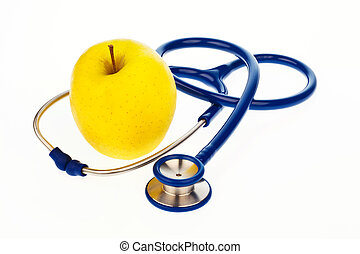 Stethoscope and apple. Healthy eating