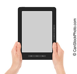 Holding Portable E-Book Reader - Females hands holding...