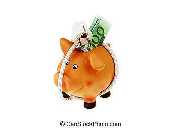 Piggy bank with power cord and plug - A piggy bank with...