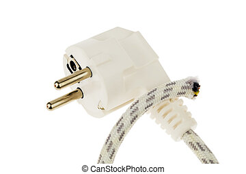 Power plug and severed cable - A power plug, and separate...